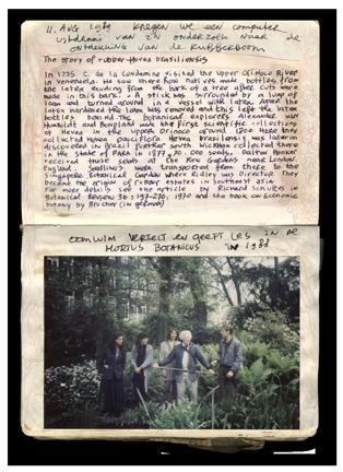 Dagboek fragment: Oom Wim Notes Hortus A'dam 1988